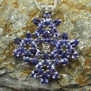 "Vintage 20"" Sterling Natural Tanzanite Necklace"